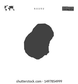Nauru Blank Map Isolated on White Background. High-Detailed Black Silhouette Map of Nauru.