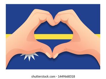 Nauru flag and hand heart shape. Patriotic background. National flag of Nauru  illustration