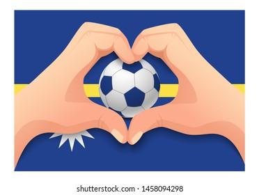 Nauru flag and hand heart shape. National football background. Soccer ball with flag of Nauru  illustration
