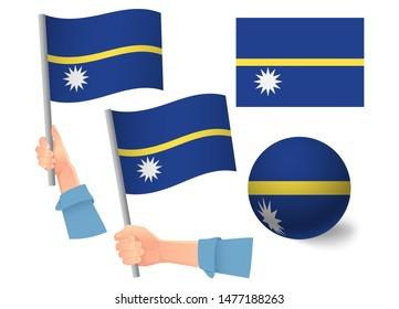 Nauru flag in hand set. Ball flag. National flag of Nauru  illustration