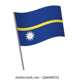 Nauru flag icon. National flag of Nauru on a pole  illustration.