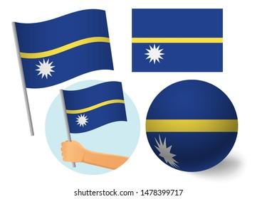 Nauru flag icon set. National flag of Nauru  illustration