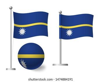 Nauru flag on pole and ball. Metal flagpole. National flag of Nauru  illustration