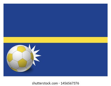 Nauru flag and soccer ball. National football background. Soccer ball with flag of Nauru  illustration