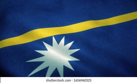 Nauru flag waving in the wind. National flag of Nauru. Sign of Nauru. 3d illustration.