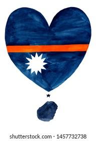 Nauru watercolor hand drawn Nauru flag with a map in heart shape on white background.