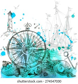 Nautical background and sketch vintage elements with watercolor splash, shell, marine fauna