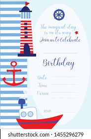 Nautical Birthday invite card. cute boat, anchor, lighthouse elements. Blue and red and white. The sailor theme invitation is a hit among kids.