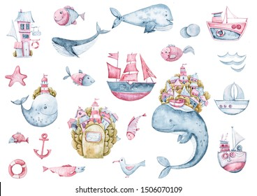 Nautical collection. Set of summer travel objects: anchor, whales, fish, boat, waves, sea fish lighthouse isolated on white background. Watercolor hand painted illustration
