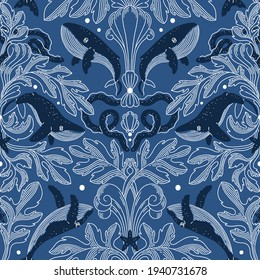 Nautical damask texture with whales, modern vintage seamless pattern illustration