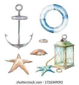 Nautical decor set: lamp, sea starfish, anchor, stones. Isolated illustrations on white background