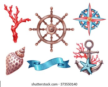 nautical elements, rigging symbols, compass, anchor, coral, shell, ribbon tag, steering-wheel, watercolor illustration, isolated on white background