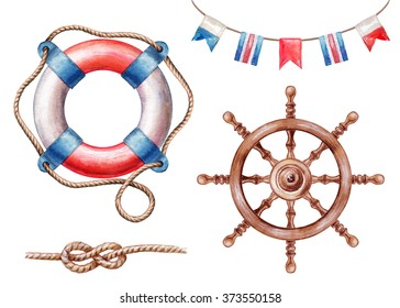 nautical elements, rigging symbols, life buoy, steering-wheel, signal flags, watercolor illustration, isolated on white background