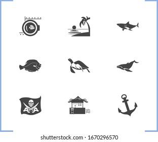 Nautical icon set and flatfish with baleen whale, porthole and shark. Tortoise related nautical icon for web UI logo design.