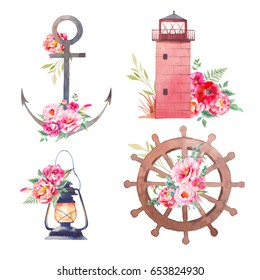 Nautical icons with flowers. Set of summer travel objects: sea anchor, wheel, lantern, lighthouse with peony, anemone, roses and leaves isolated on white background. Watercolor illustration