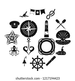 Nautical icons set. Simple illustration of 16 nautical icons for web