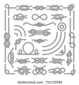 Nautical rope knots decorative vintage elements. Set of rope knots, illustration of vintage rope marine