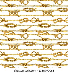Nautical rope seamless tied fishnet background. marine knots and cordage pattern. fishing net watercolor illustration