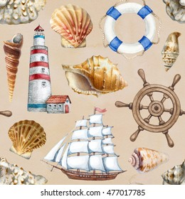 Nautical seamless pattern with watercolor illustrations of shells, ship and lighthouse