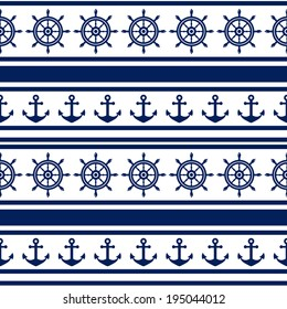 Nautical seamless pattern in white and navy blue colors. Sea theme. Raster illustration.