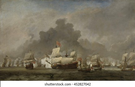 Naval Battle between Michiel Adriaensz de Ruyter and the Duke of York on the Royal Prince during the Battle of Solebay, by Willem van de Velde (II), 1691, Dutch painting, oil on canvas. On June 7, 16