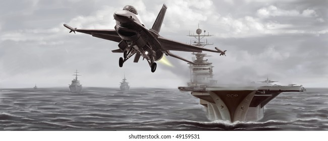 Naval Jet Fighter Taking Off From The Ship