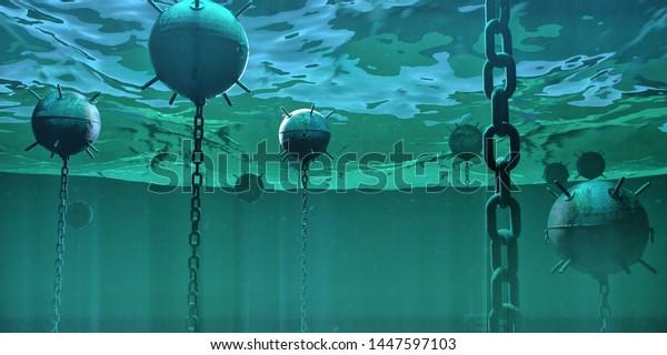 naval underwater mines bombs floating underwater in the ocean. hidden danger high risk concept 3d rendered illustration