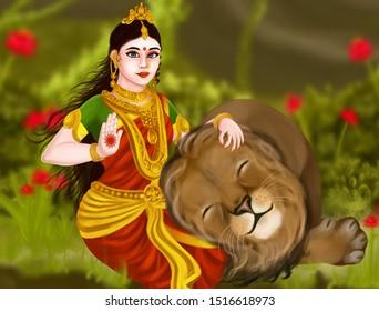 Navaratri special maa durga digital painting art