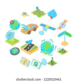 Navigation icons set in isometric 3d style style. Location on terrain set collection illustration.