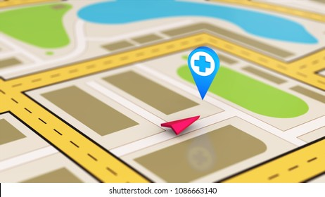 Navigation map showing the closest hospital or pharmacy 3D illustration