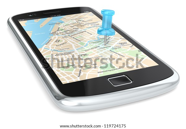 Navigation via Smart phone. Black Smartphone with a GPS map. Blue Pushpin.