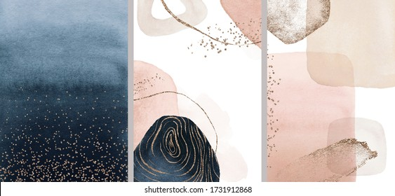 Navy, beige, blush, pink, ivory watercolor Illustration and gold elements, on white background. Abstract modern print set. Logo. Wall art. Posters.