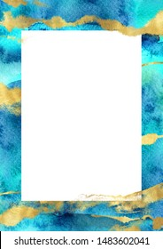 Navy blue and gold hand drawn vertical border template. Watercolor layout with splashes, strokes and white space for text. Perfect for wedding stationery, greeting, quote, social media, poster