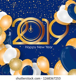 A navy blue and golden Happy New Year 2019 post or card for social media platform(s).