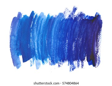 Navy blue, indigo watercolor texture background with dry brush stains, strokes and spots isolated on white. Abstract artistic frame, place for text or logo. Acrylic hand painted backdrop.