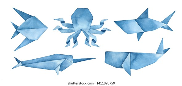 Navy blue origami collection of undersea animals: whale, shark, octopus, abstract fish and narwhal. Hand drawn watercolour graphic painting on white background, cutout clip art elements for design.