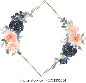 Navy Blue and Peach Watercolor Floral Bouquets Isolated on White Background