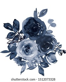 Navy Blue Watercolor Floral Arrangement Isolated on White Background