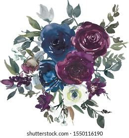 Navy Blue White and Plum Watercolor Floral Bouquets Isolated on White Background