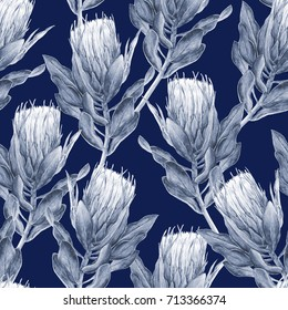 Navy blue and white Protea flower illustration. Seamless pattern repeat.