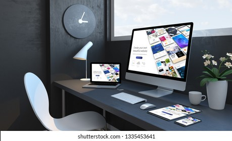 Navy blue workspace with responsive devices 3d rendering builder responsive design website