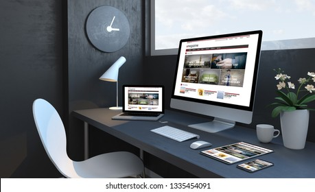 Navy blue workspace with responsive devices 3d rendering trends magazine website