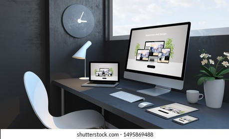 Navy blue workspace with responsive devices 3d rendering modern web design