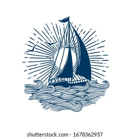 navy boat on waves  - Digital hand drawn illustration of a simple blue boat on waves.