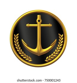 Navy cap badge, ship officer, admiral, sailor, naval captain hat 3d rendering