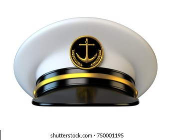 Navy cap, ship officer, admiral, sailor, naval captain hat front view 3d rendering