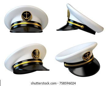 Navy cap, ship officer, admiral, sailor, naval captain hat various views 3d rendering