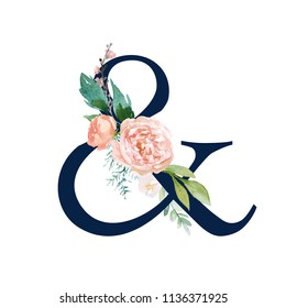 Navy Floral Alphabet - ampersand & with flowers bouquet composition. Unique collection for wedding invites decoration & other concept ideas.