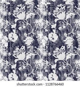 navy floral damask vintage pattern