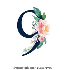 Navy Floral Number - digit 9 with flowers bouquet composition. Unique collection for wedding invites decoration & other concept ideas.